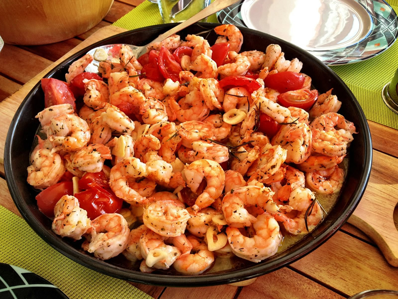 Spicy Morroccan prawns with cherry tomatoes